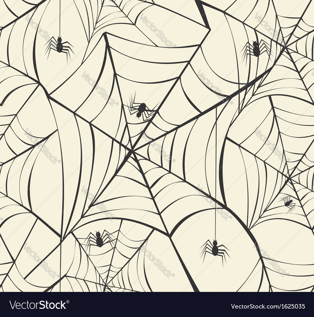 Happy halloween spider webs seamless pattern vector | Price: 1 Credit (USD $1)