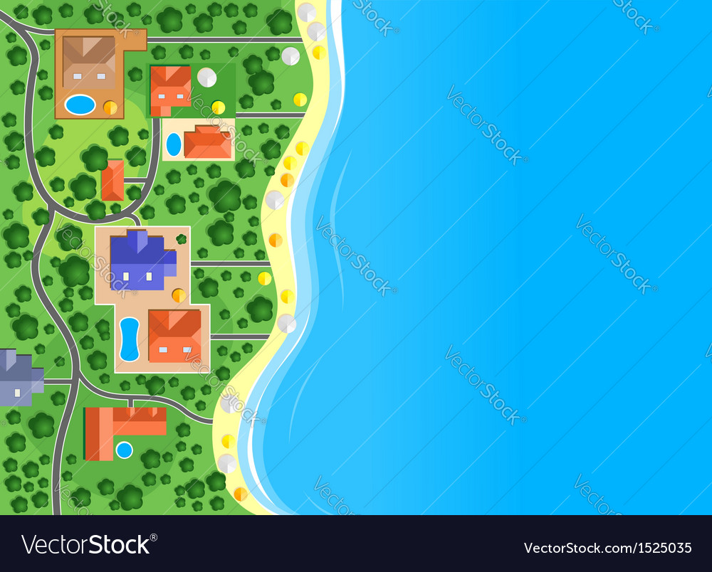 Houses on the sea coast vector | Price: 1 Credit (USD $1)