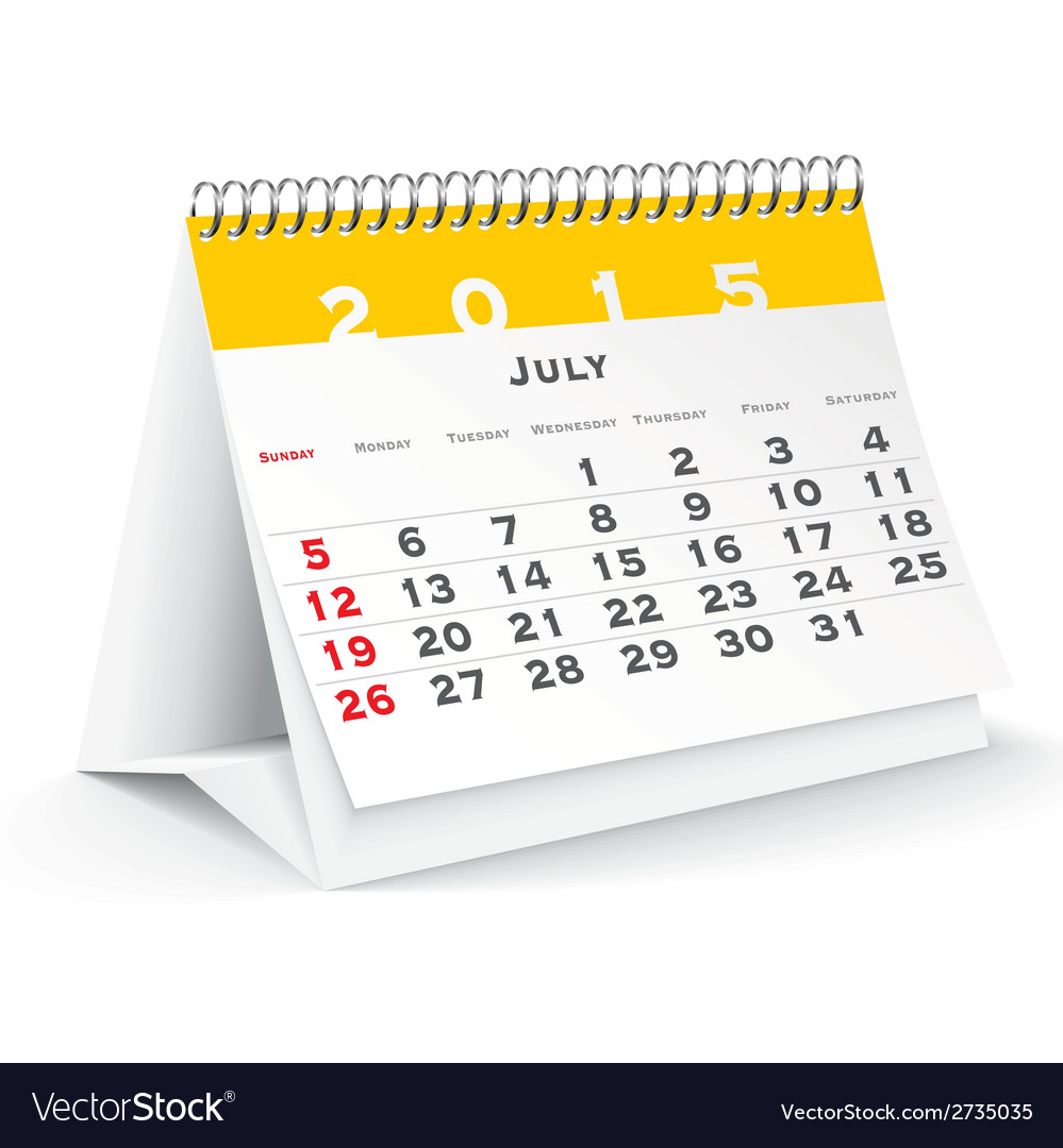 July 2015 desk calendar - vector | Price: 1 Credit (USD $1)