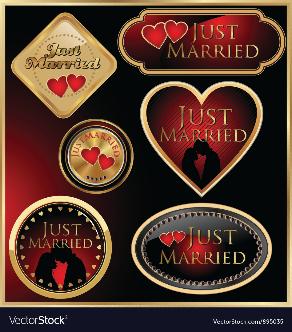 Just married golden labels vector | Price: 1 Credit (USD $1)
