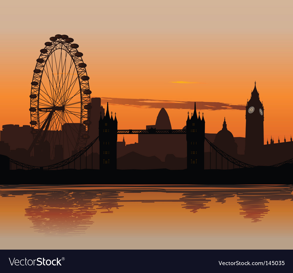 London at sunset vector | Price: 1 Credit (USD $1)
