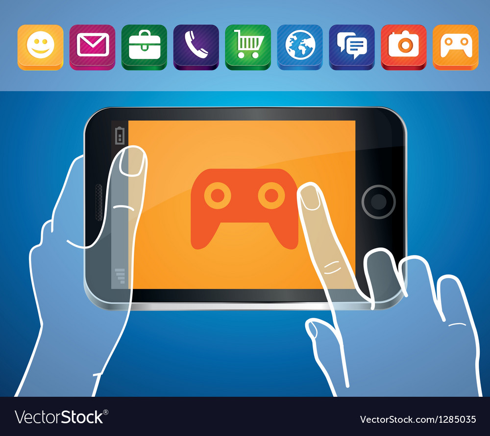 Mobile phone with hands and game icon vector | Price: 1 Credit (USD $1)