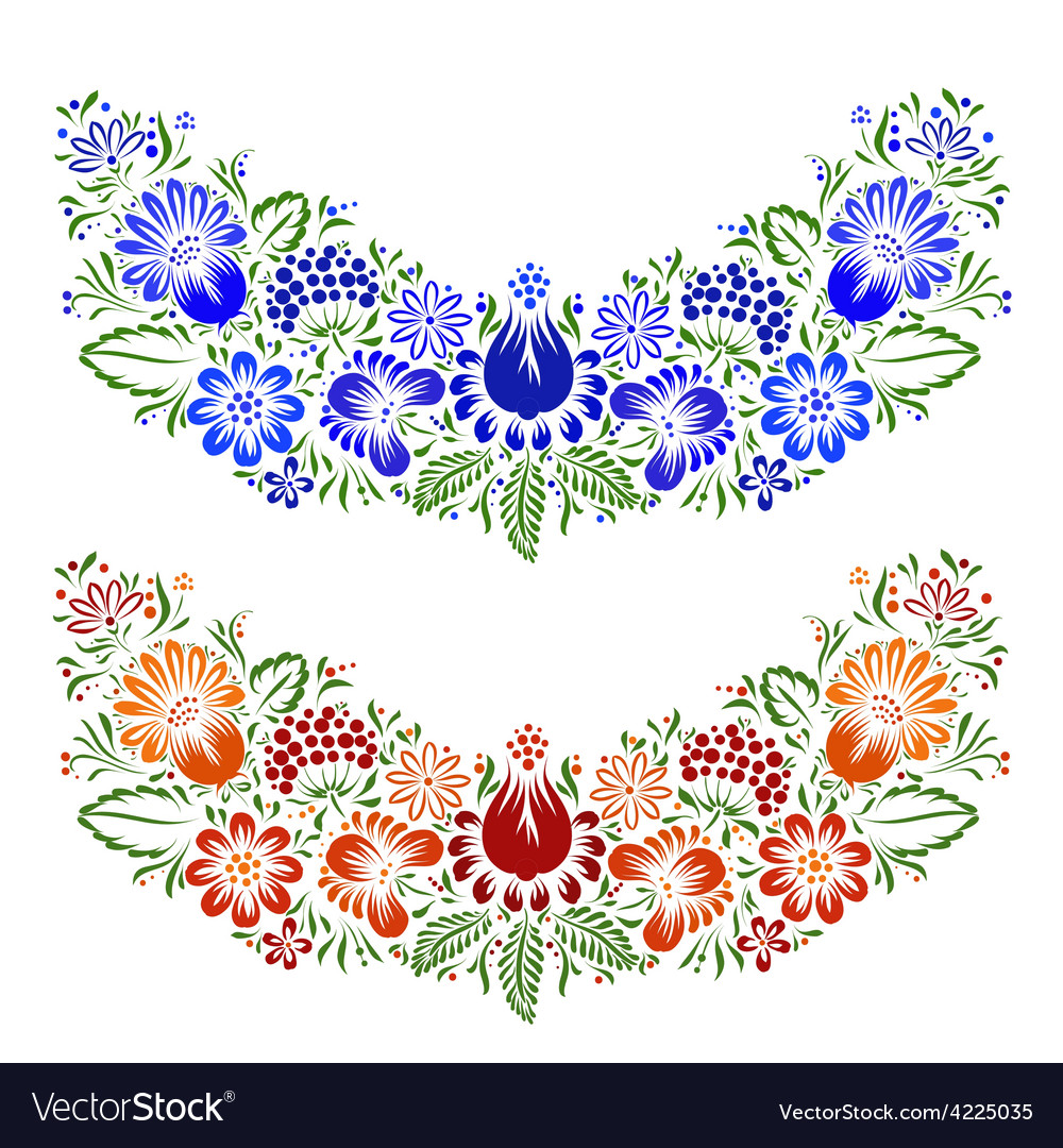 Ornament with ethnic flowers and leaves vector | Price: 1 Credit (USD $1)