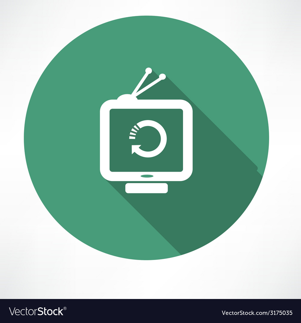 Refresh icon on retro television set vector | Price: 1 Credit (USD $1)