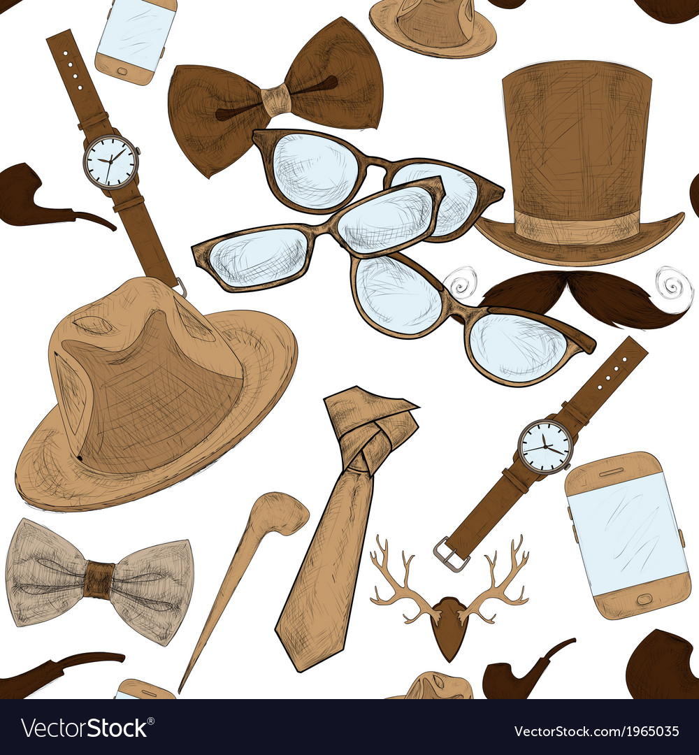 Seamless hand drawn hipster accessories pattern vector | Price: 1 Credit (USD $1)