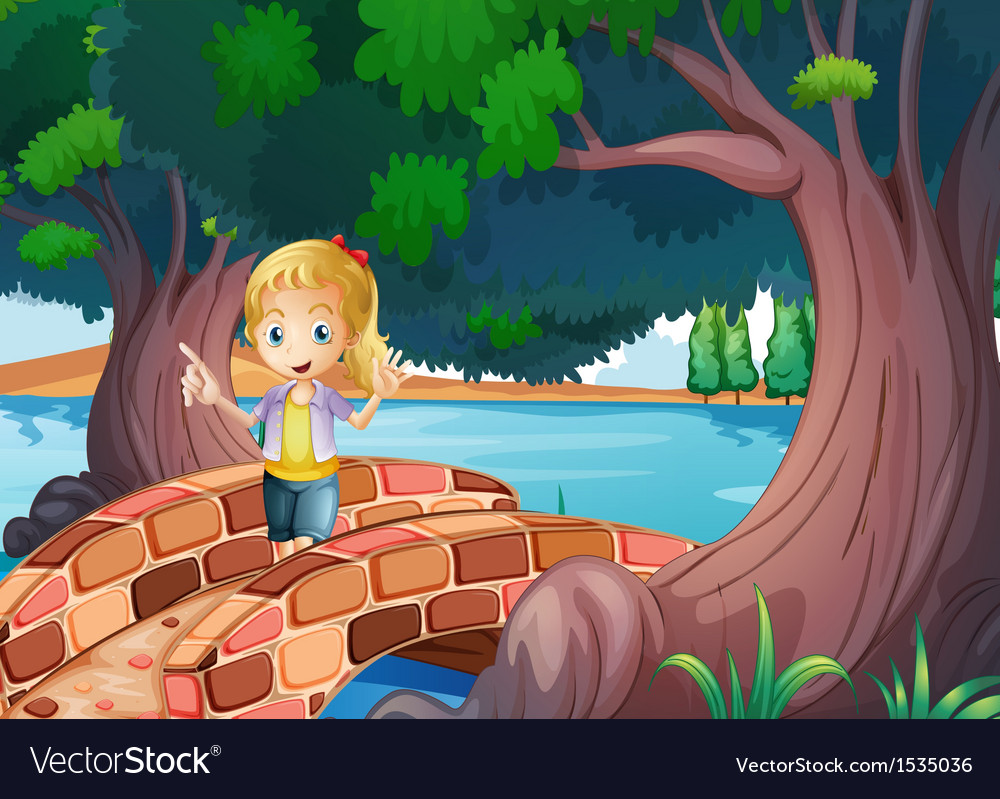 A girl at the bridge near the giant trees vector | Price: 1 Credit (USD $1)