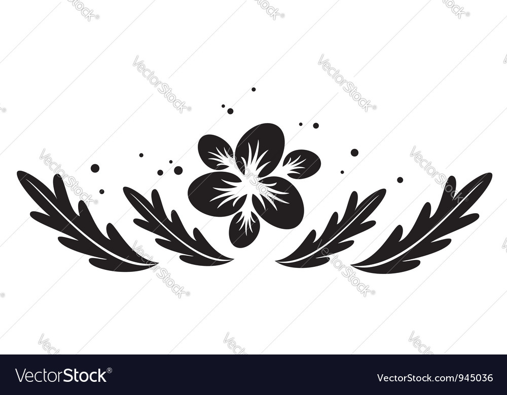 Black element with flower for design vector | Price: 1 Credit (USD $1)