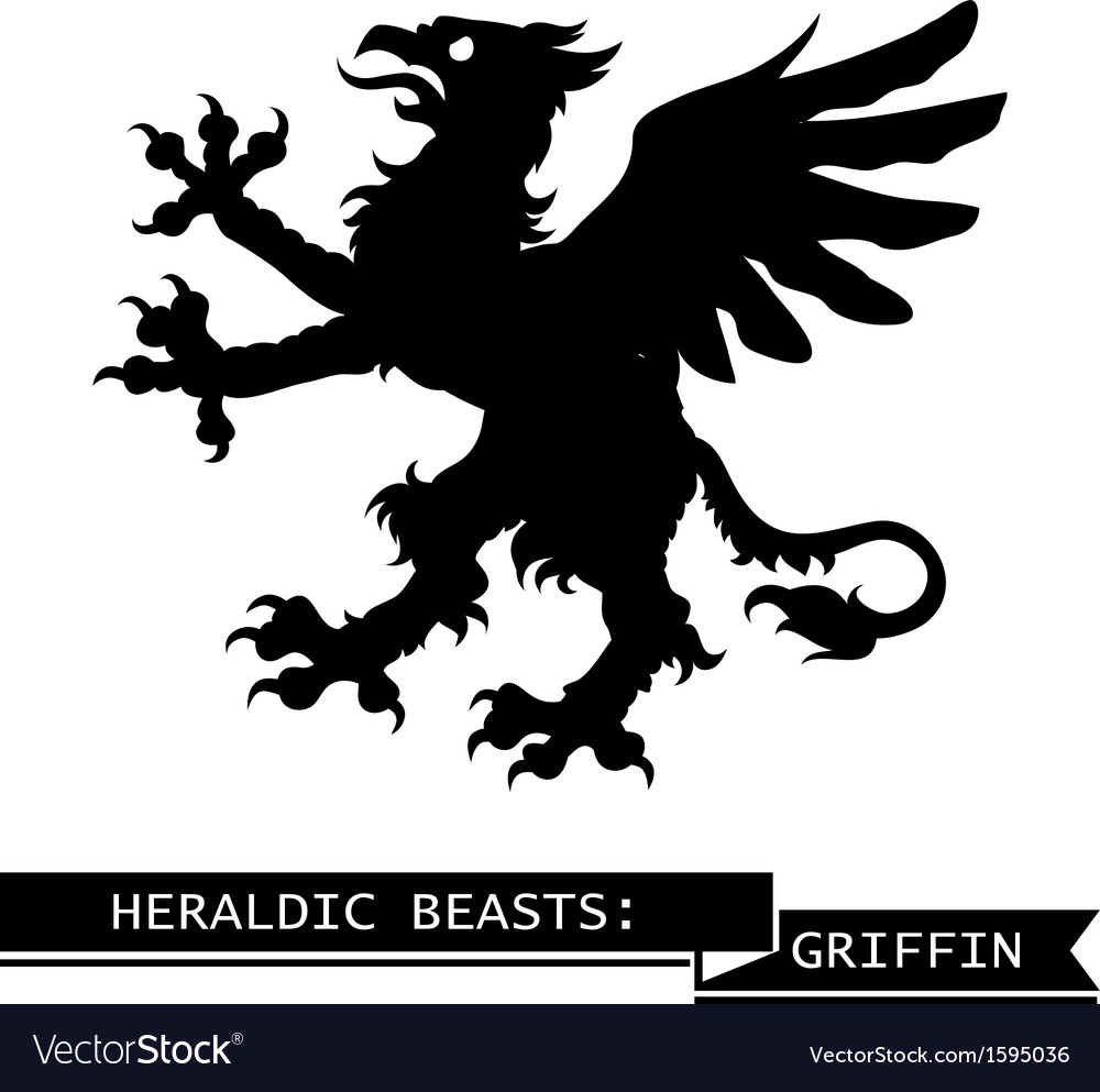Black heraldic griffin vector | Price: 1 Credit (USD $1)