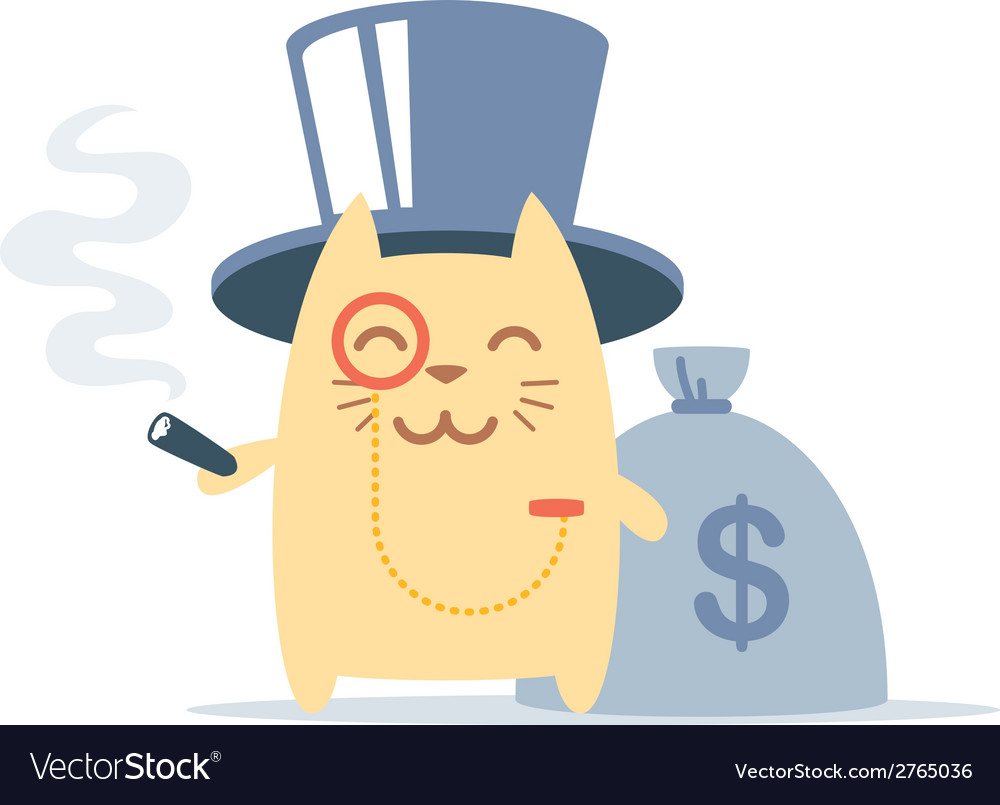Character rich gentleman in a hat-cylinder and a vector   Price: 1 Credit (USD $1)