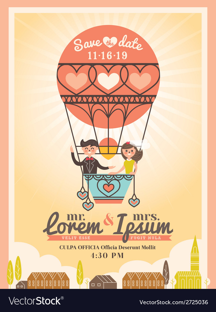 Cute groom and bride on balloon wedding invitation vector | Price: 1 Credit (USD $1)