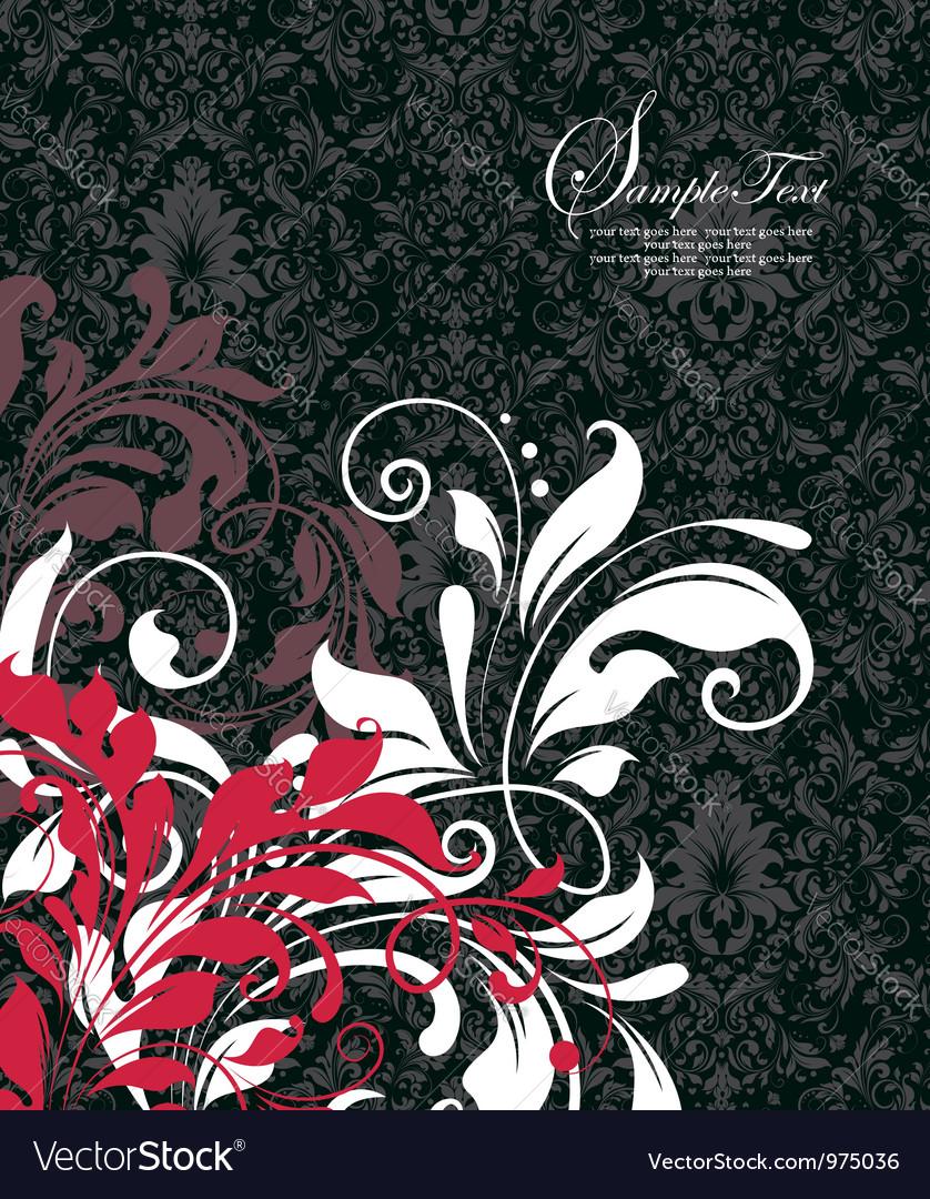 Damask invitation floral card vector   Price: 1 Credit (USD $1)