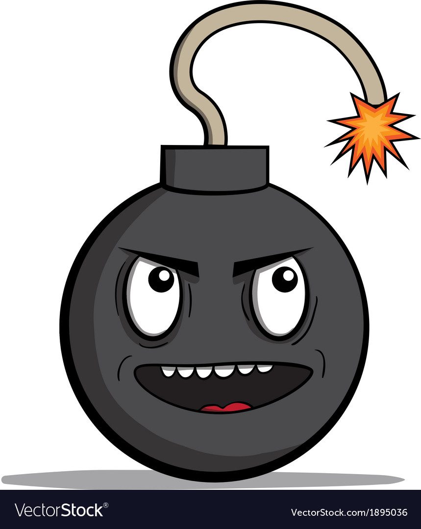 Funny evil cartoon bomb ready to explode vector | Price: 1 Credit (USD $1)
