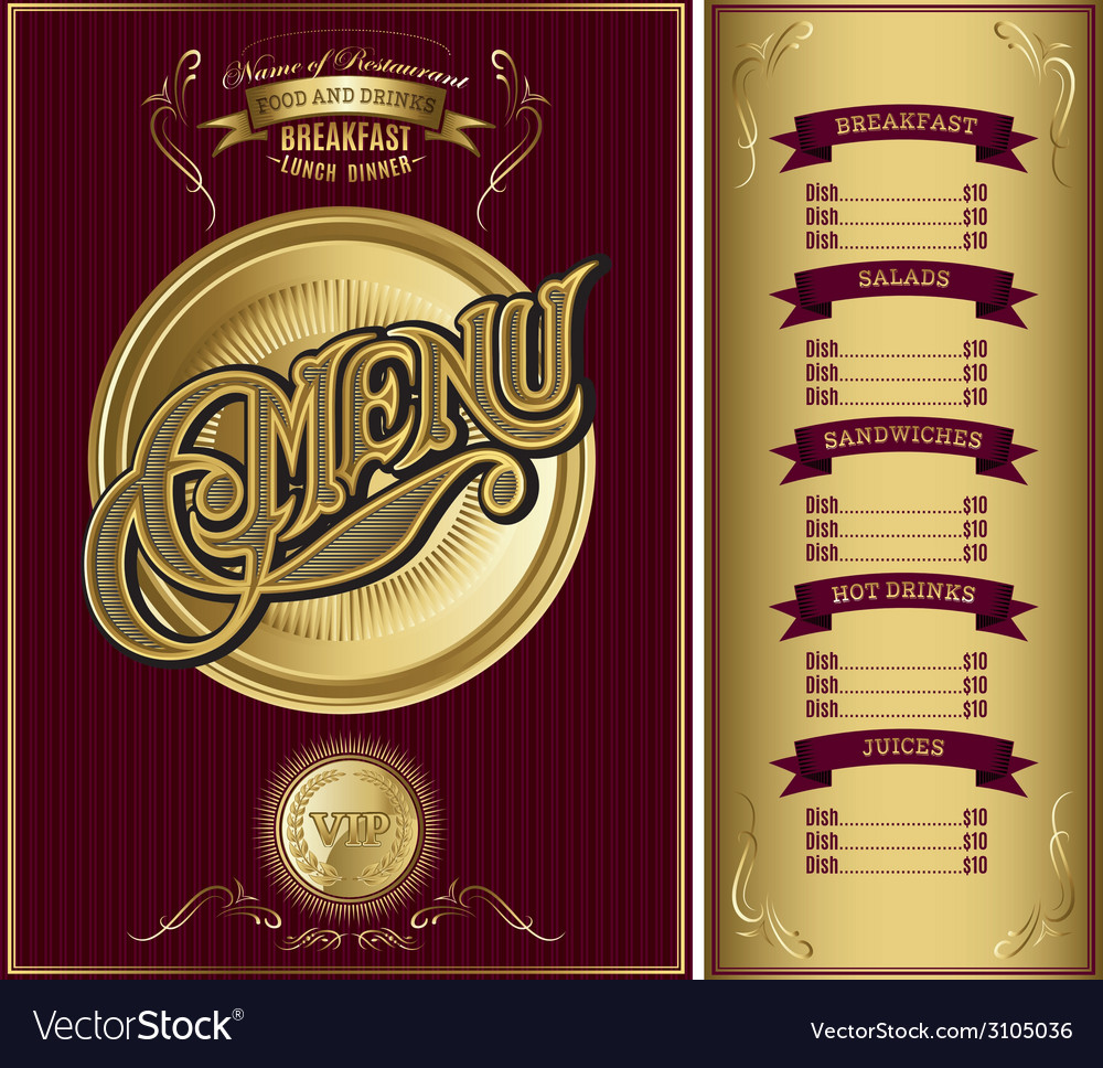 Gold template for the cover of the menu vector | Price: 1 Credit (USD $1)