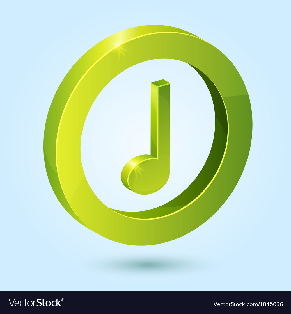 Green music symbol isolated on blue background vector | Price: 1 Credit (USD $1)