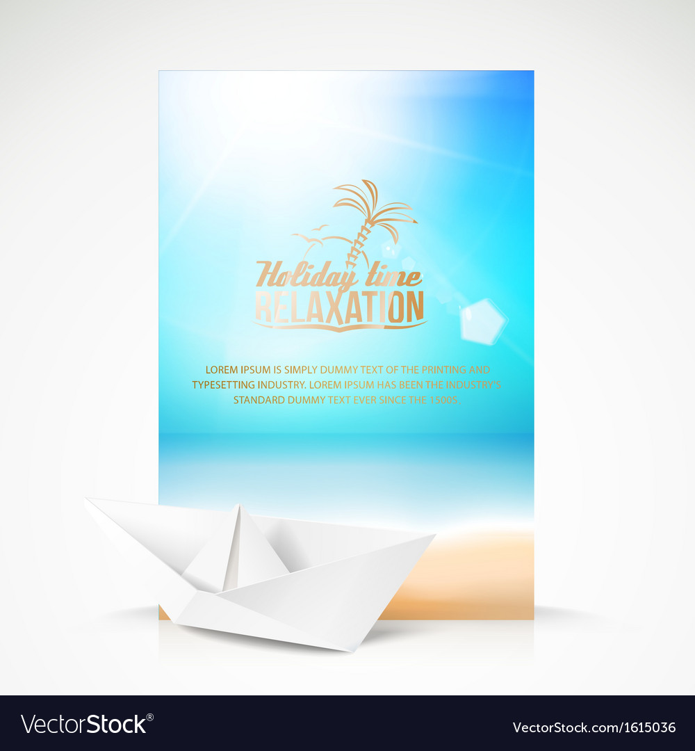 Paper boat beach palm on an paradise place vector | Price: 1 Credit (USD $1)