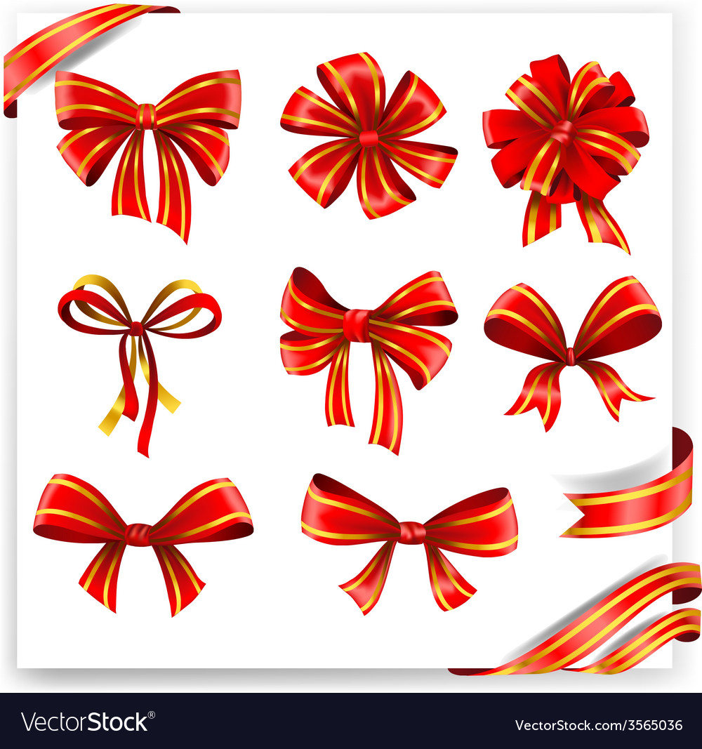Set of red and gold gift bows with ribbons vector | Price: 3 Credit (USD $3)
