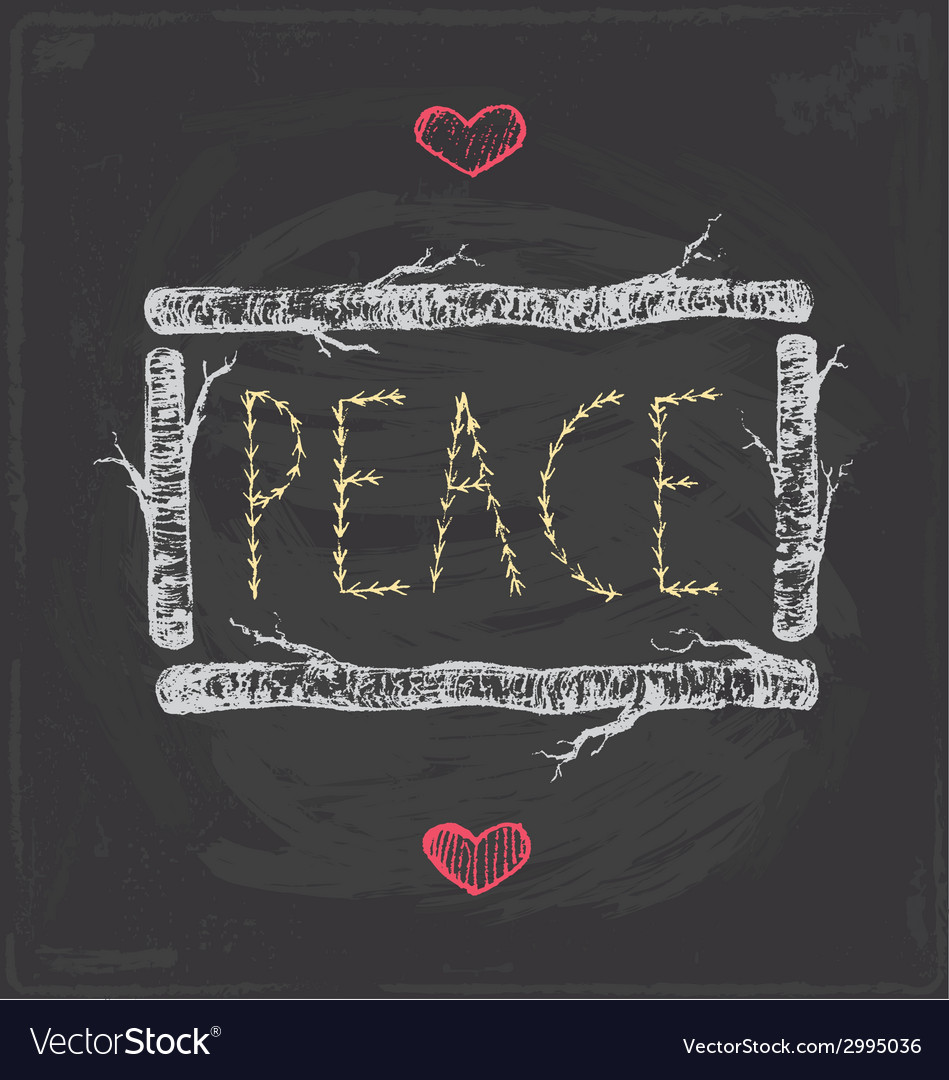 Vintage christmas peace chalkboard hand drawn set vector | Price: 1 Credit (USD $1)