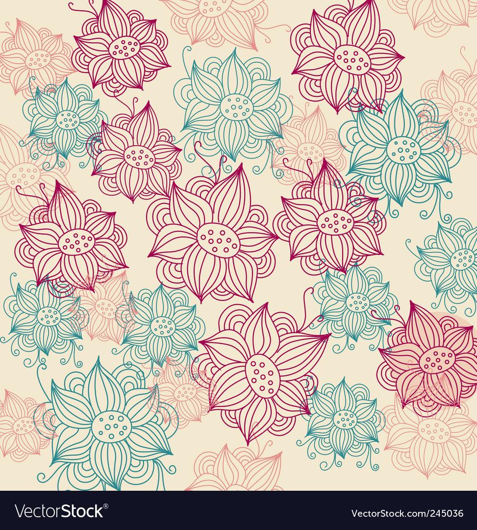 Vintage flower background vector | Price: 1 Credit (USD $1)