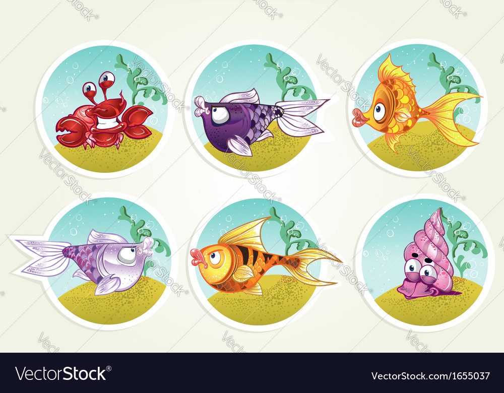 Collection of marine life - fish crab snail vector | Price: 3 Credit (USD $3)
