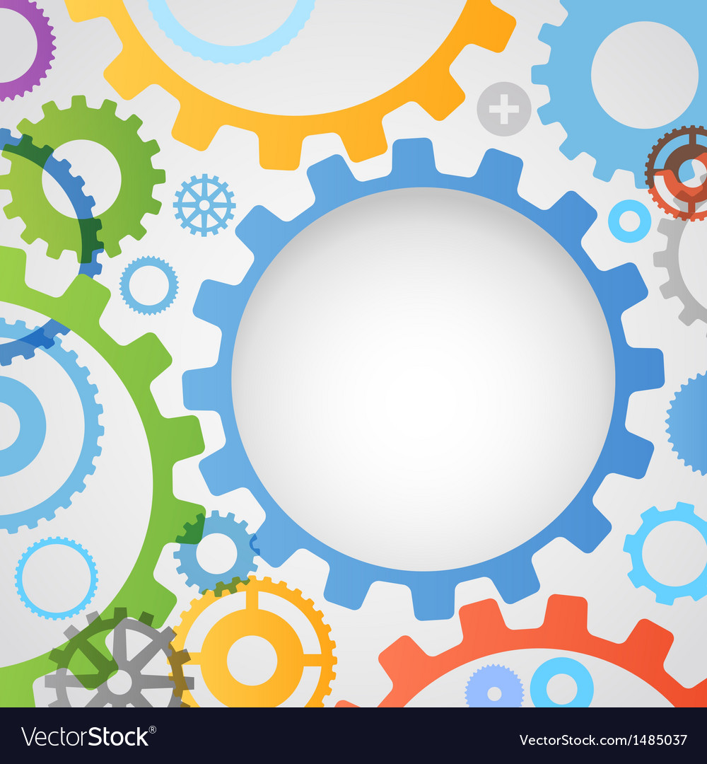 Color different gear wheels abstract background vector | Price: 1 Credit (USD $1)