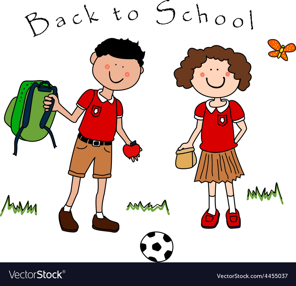 Couple of kids going back to school vector | Price: 1 Credit (USD $1)