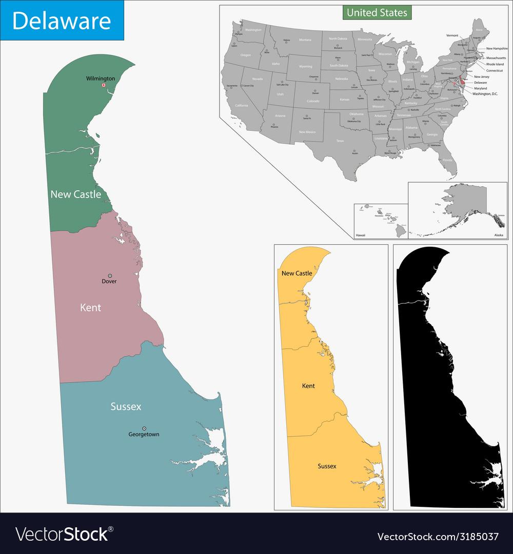 Delaware map vector | Price: 1 Credit (USD $1)