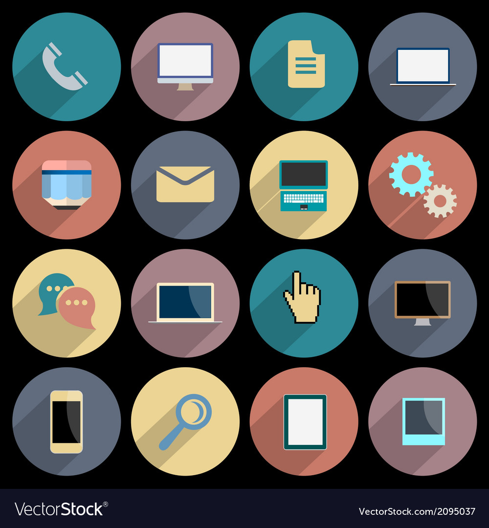 Flat icons for web and mobile applications objects vector | Price: 1 Credit (USD $1)