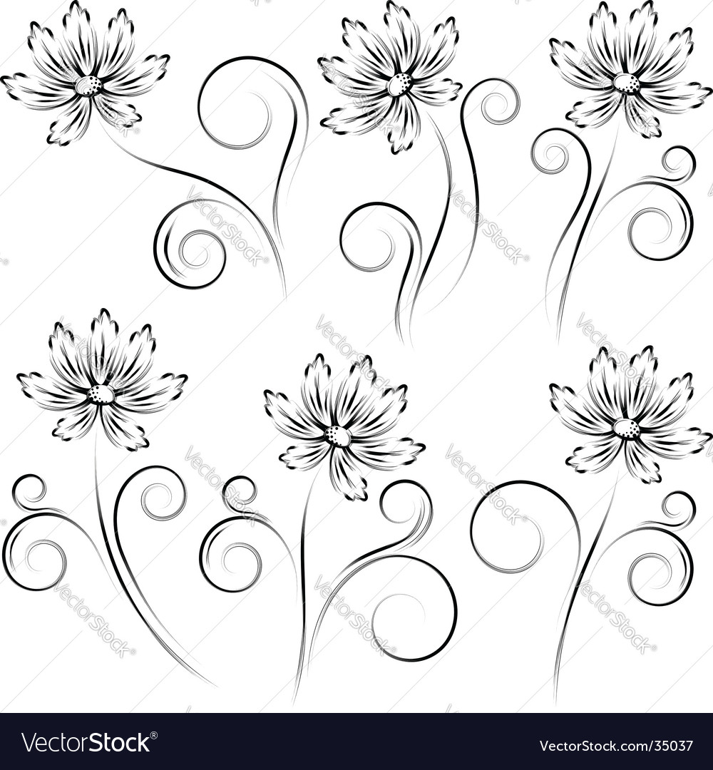 Flower sketch vector | Price: 1 Credit (USD $1)