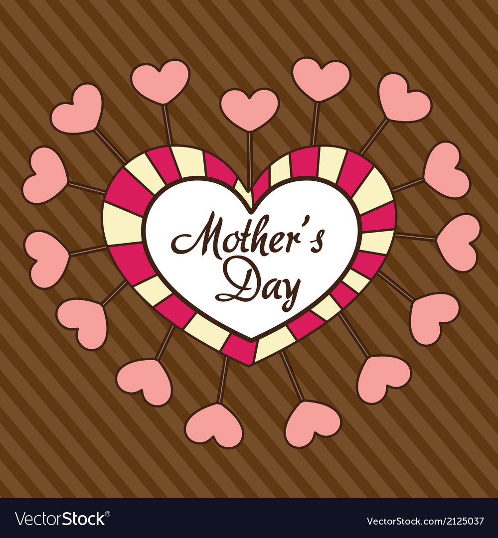 Mothers day heart over background of brown lines vector | Price: 1 Credit (USD $1)