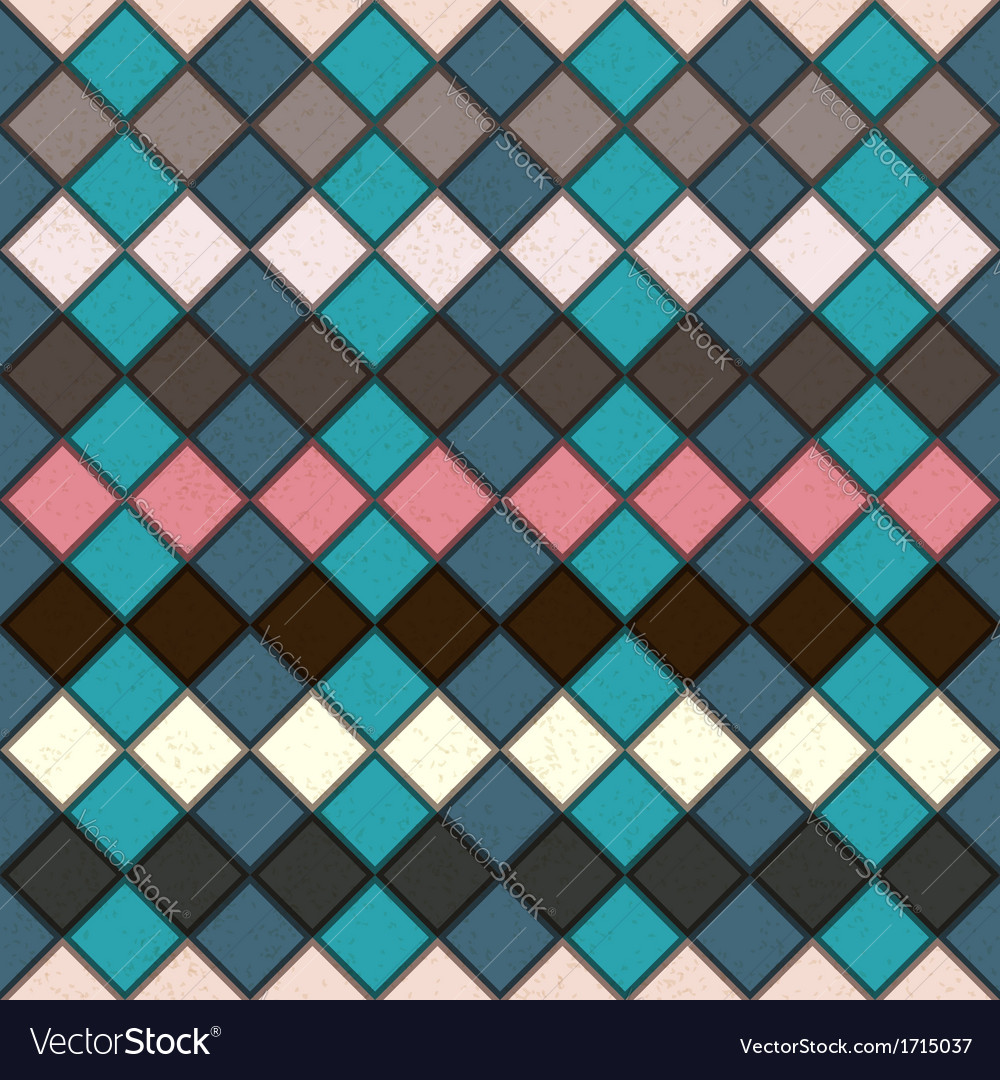 Rhombus seamless grunge background in retro colors vector | Price: 1 Credit (USD $1)