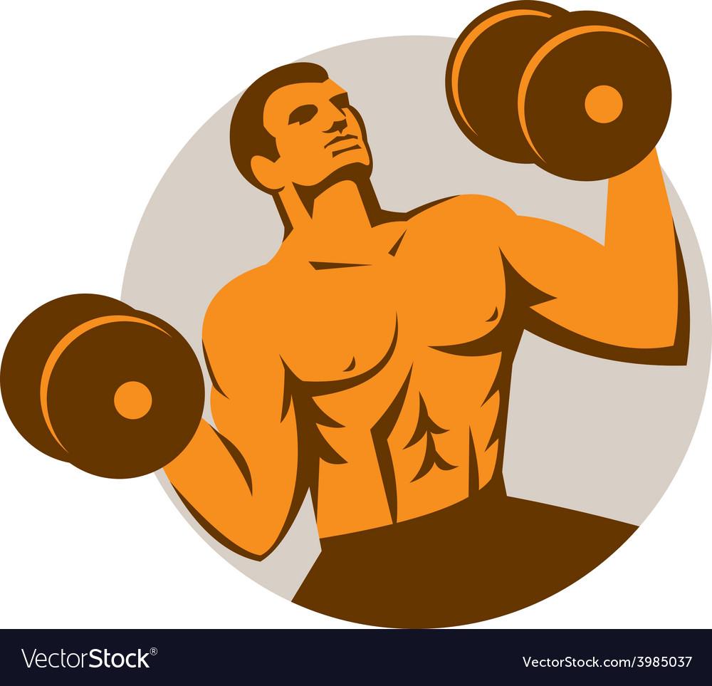 Strongman crossfit lifting dumbbells circle retro vector   Price: 1 Credit (USD $1)