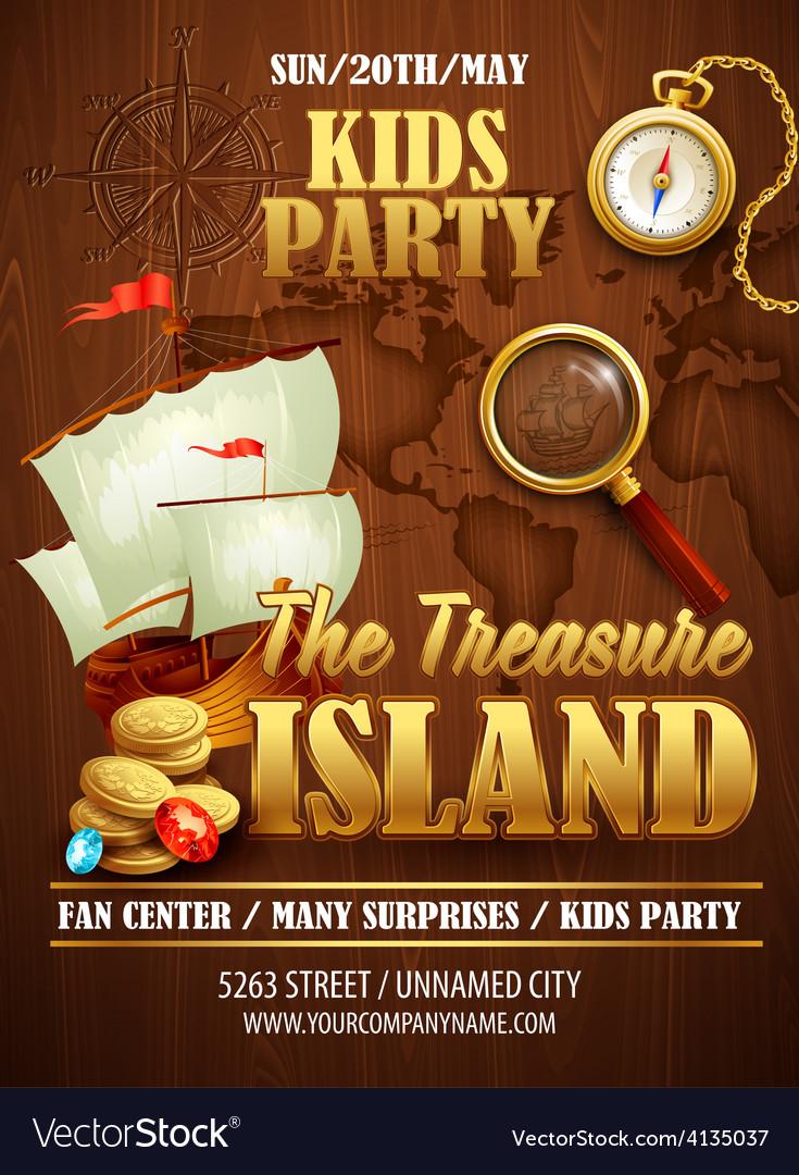 Treasure island party flyer template vector | Price: 3 Credit (USD $3)