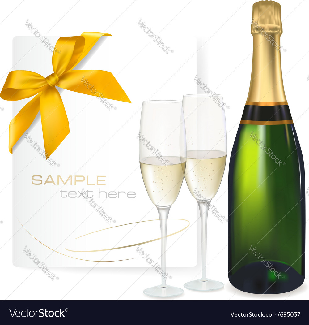Two glasses of champagne vector | Price: 3 Credit (USD $3)