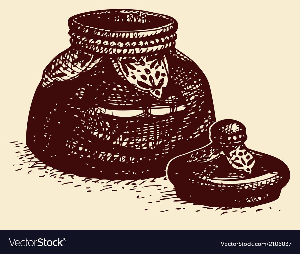 Vintage glass bowl vector | Price: 1 Credit (USD $1)