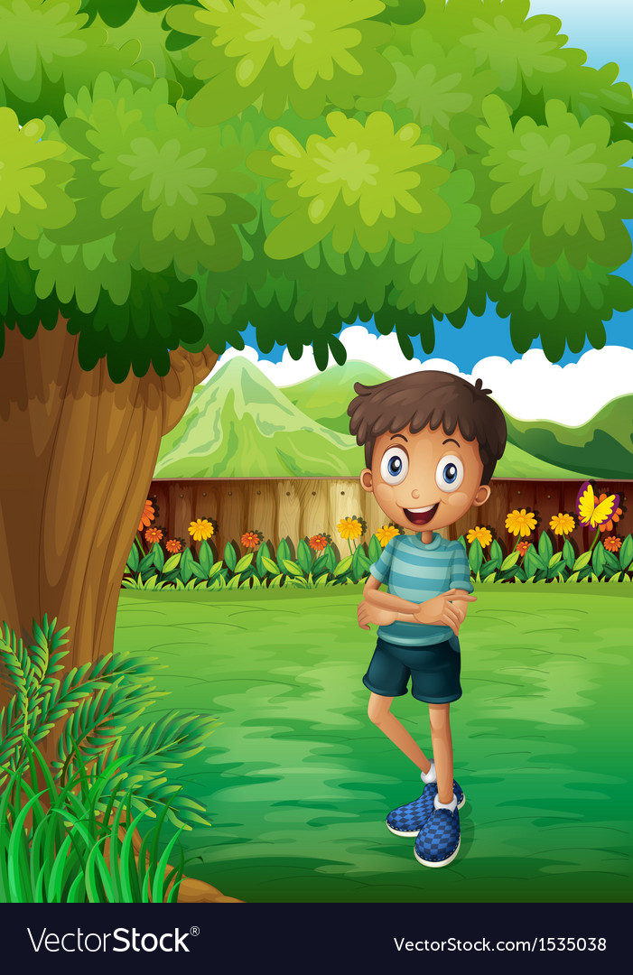 A smiling young man near the tree inside the gated vector | Price: 1 Credit (USD $1)