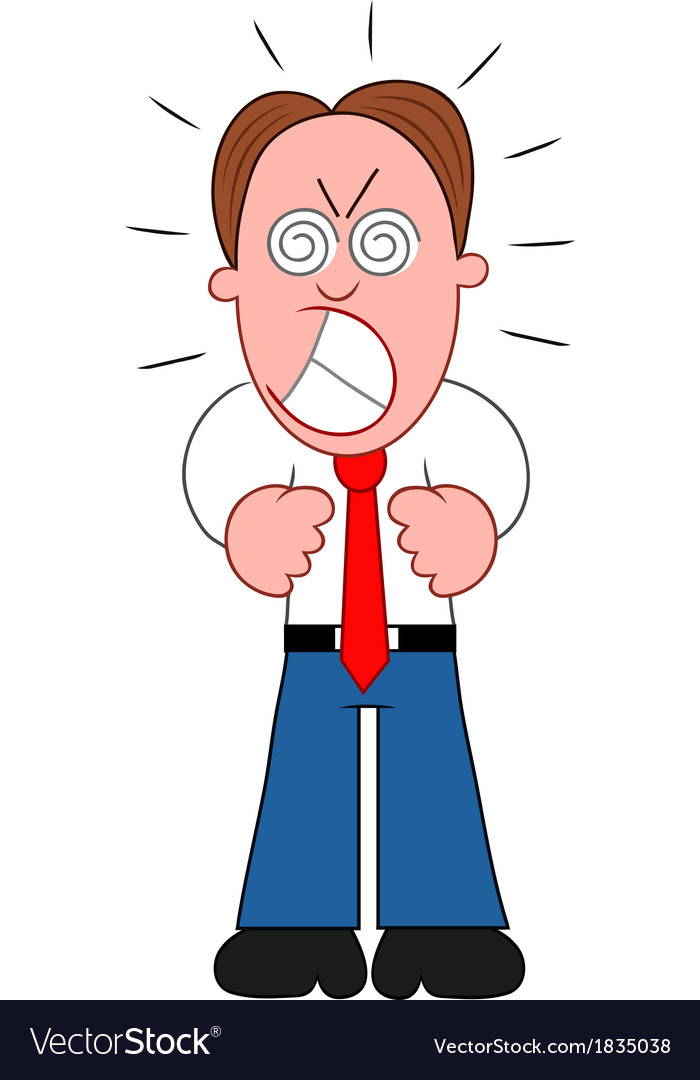 Cartoon businessman furious vector | Price: 1 Credit (USD $1)