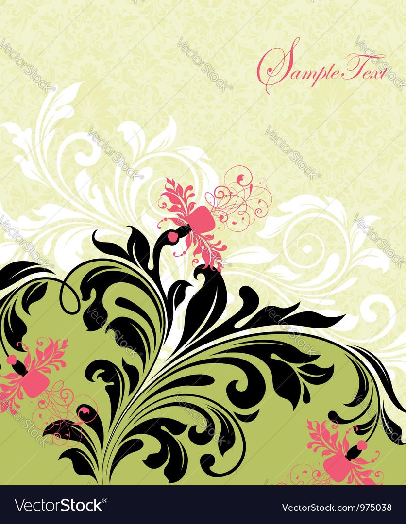 Floral card design vector | Price: 1 Credit (USD $1)