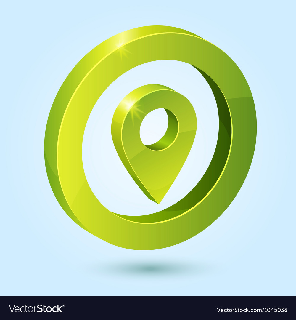 Green map pin symbol isolated on blue background vector | Price: 1 Credit (USD $1)