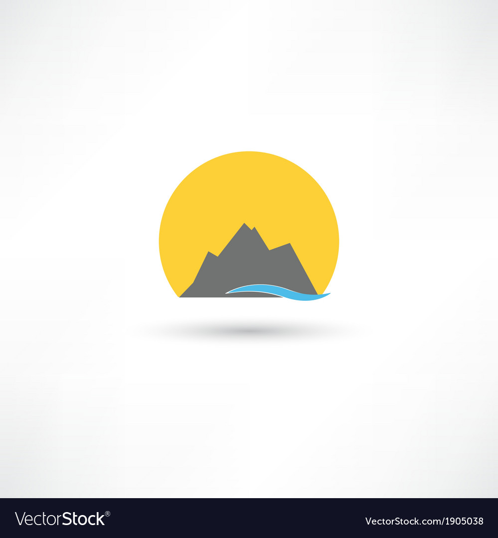 Mountains in the sun symbol vector | Price: 1 Credit (USD $1)