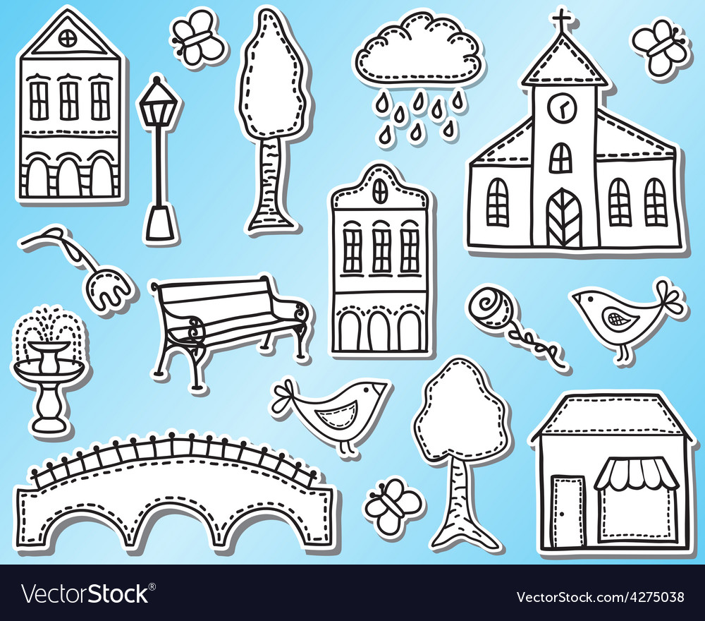 Town or city design elements vector | Price: 1 Credit (USD $1)