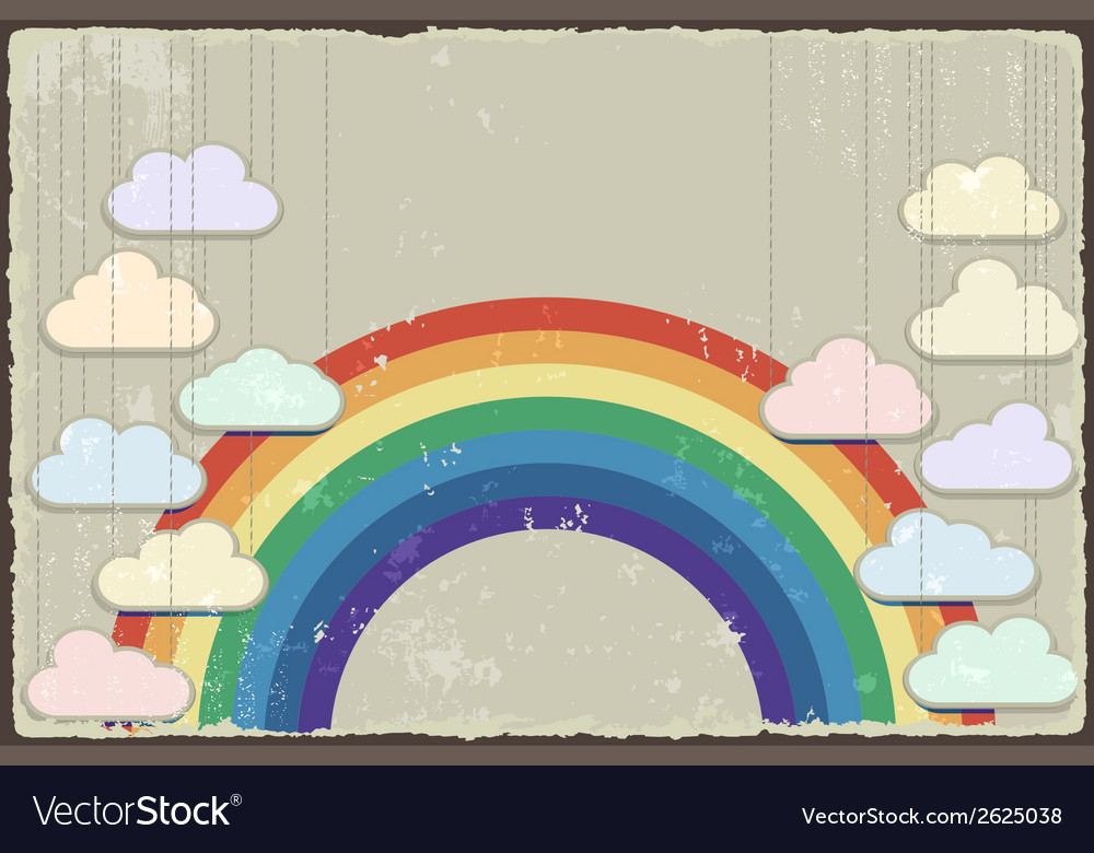 Vintage grunge background with rainbow vector | Price: 1 Credit (USD $1)