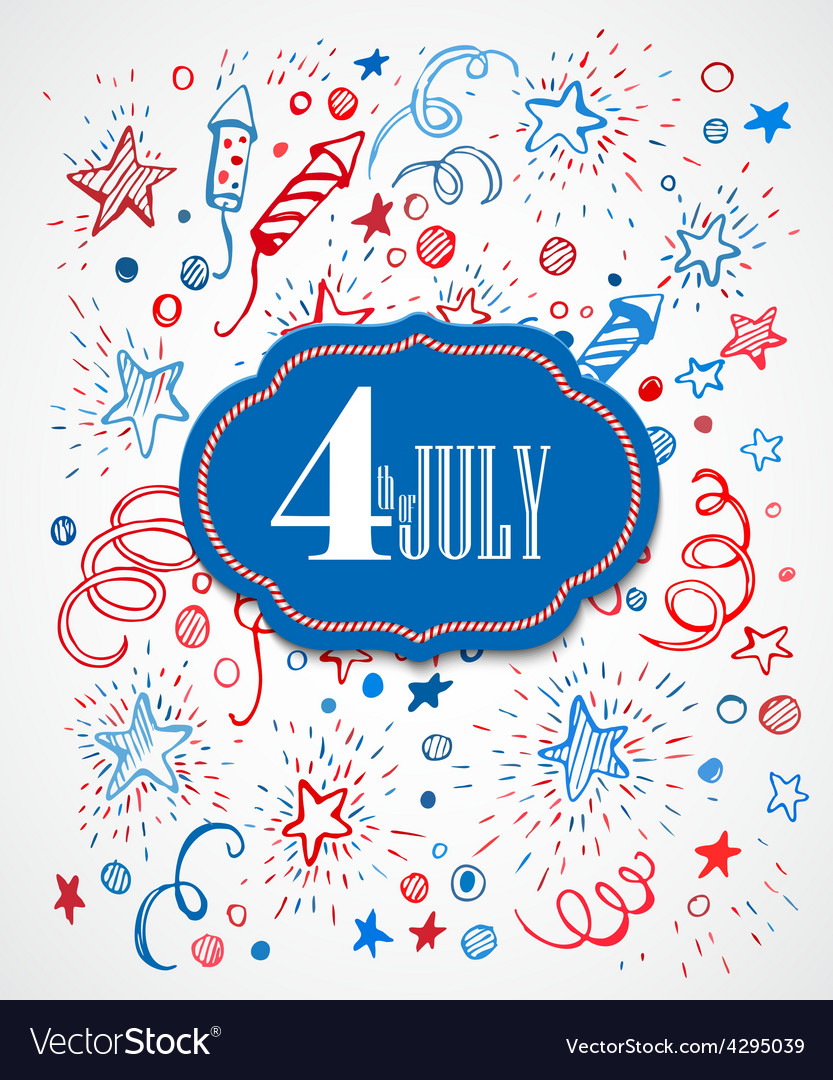 American independence day hand-drawn pattern vector | Price: 1 Credit (USD $1)