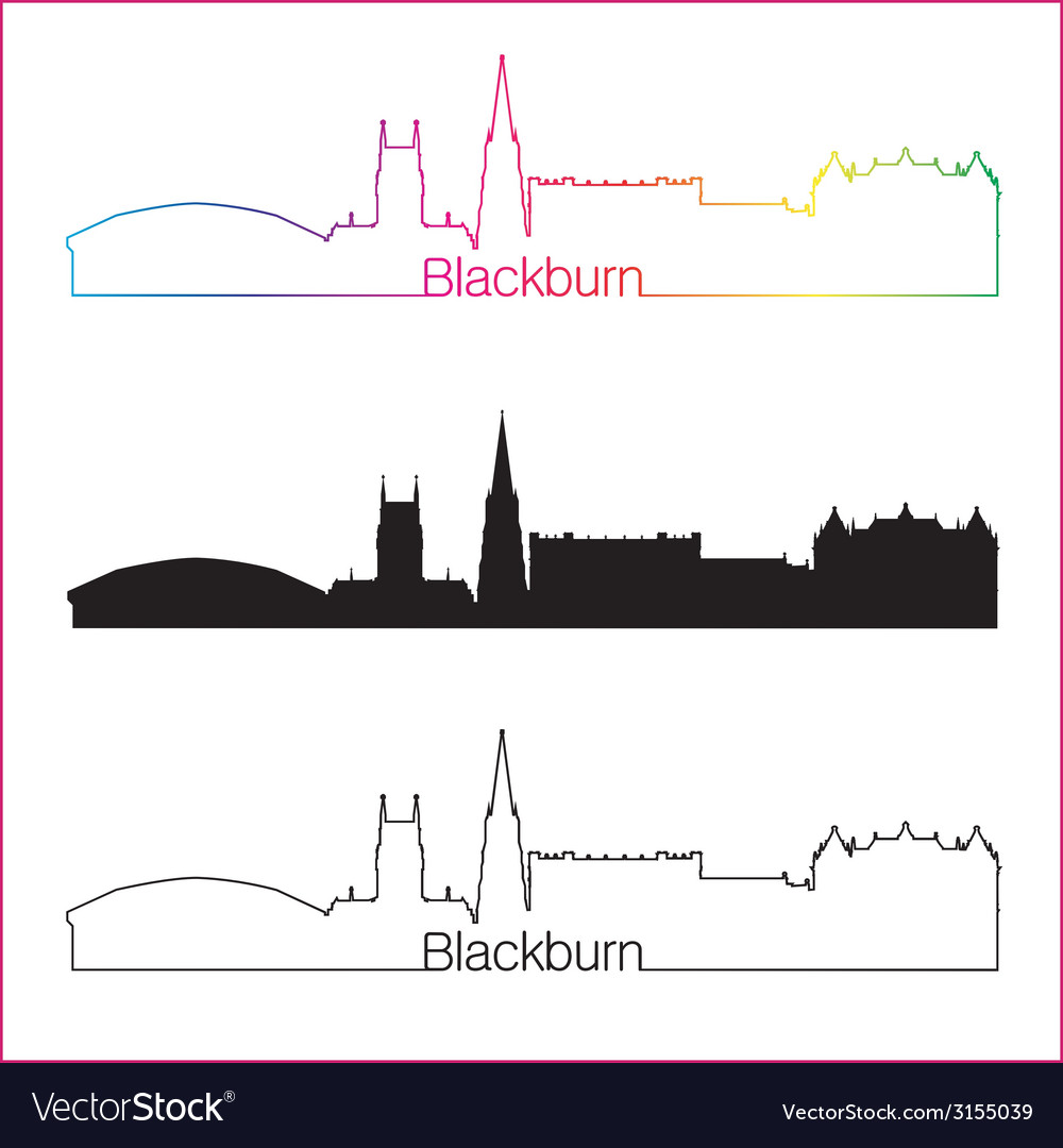 Blackburn skyline linear style with rainbow vector | Price: 1 Credit (USD $1)