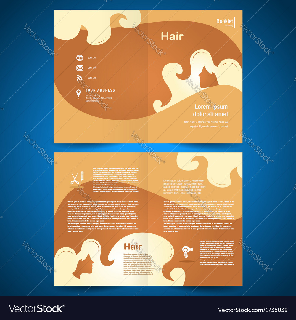Booklet catalog brochure folder hair salon beauty vector | Price: 1 Credit (USD $1)