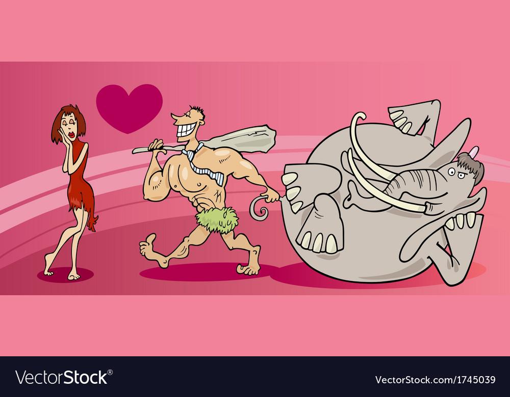 Cavemen couple in love valentine card vector   Price: 1 Credit (USD $1)