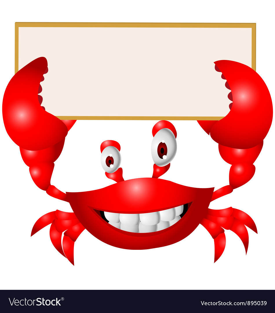 Crab cartoon with blank sign vector | Price: 1 Credit (USD $1)
