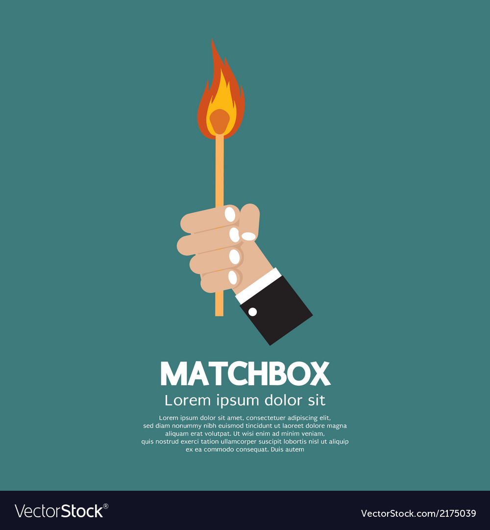 Flaming match stick in hand vector | Price: 1 Credit (USD $1)