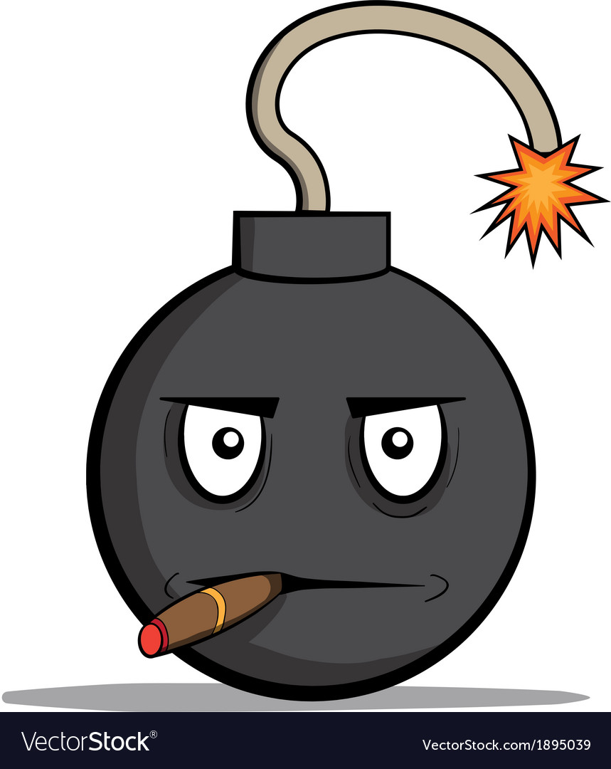 Funny cartoon bomb with cigar vector | Price: 1 Credit (USD $1)