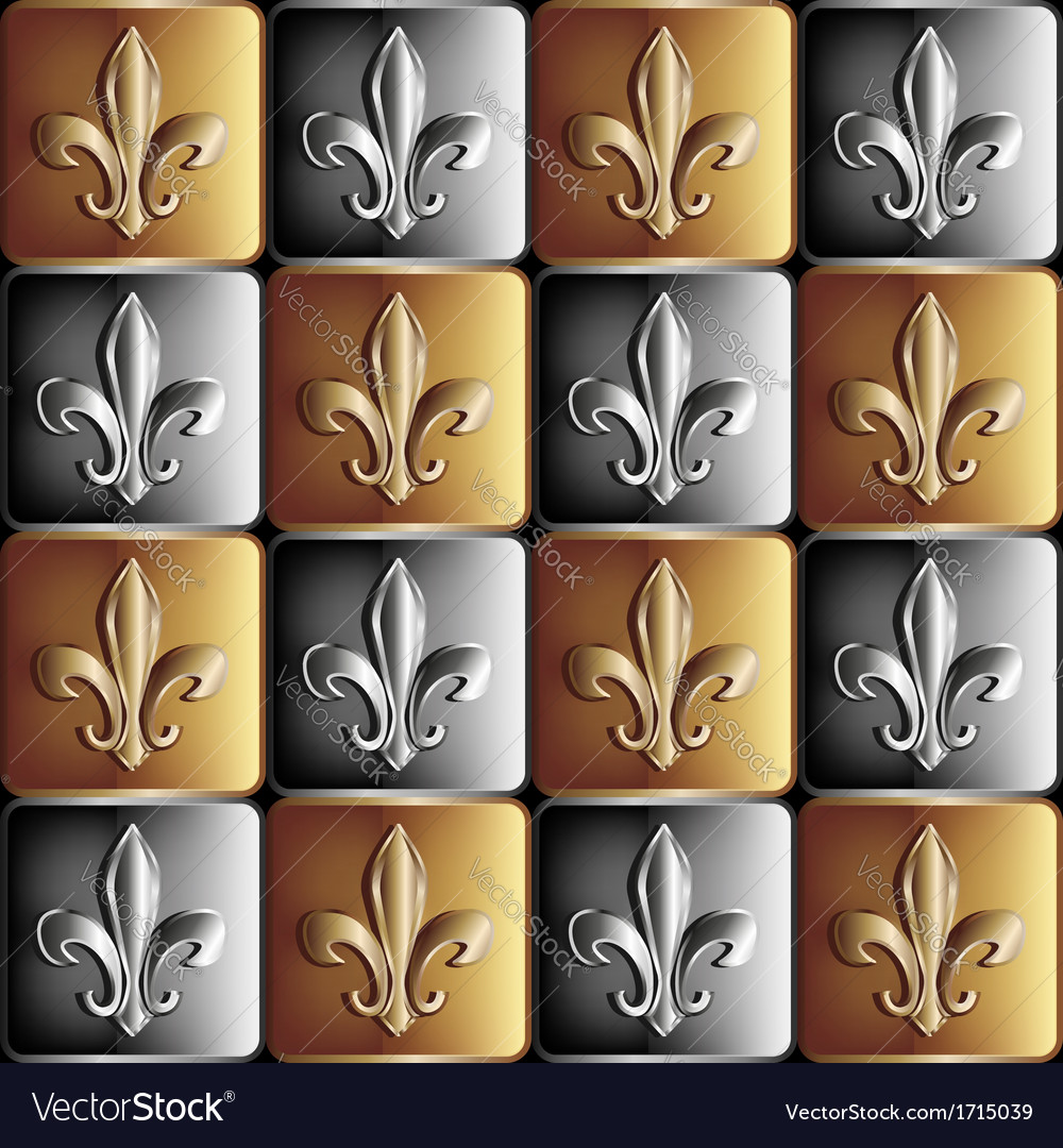 Gold and silver seamless pattern the royal lily vector | Price: 1 Credit (USD $1)