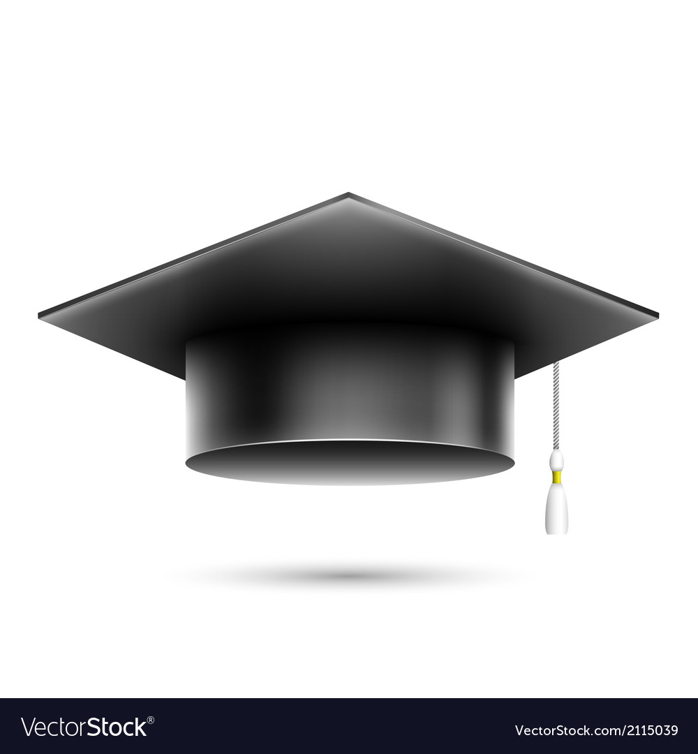 Isolated realistic black student hat vector | Price: 1 Credit (USD $1)